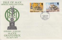 Enveloppe  FDC  1er  Jour    ILE  DE  MAN    50éme   Anniversaire  Du   Grand  Prix   Motocycliste   1973 - Moto