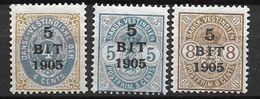 Antilles Danoises 1905 N° 24/26 Neufs * MLH Cote 75 Euros - Denmark (West Indies)