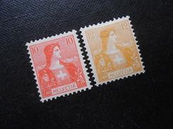 CH ZNr.104/105  10**/MNH/12C*(MLH) - 1907 - CHF 9.00 - Switzerland