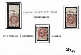 Timbres De La Libération De 1941 Et 1942 Utilisés Avec Bande Publicitaire Et à Bordeaux - Liberation