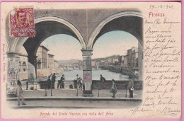 L150A_698 - Florence - Firenze - Arcade Del Ponte Vecchio Con Vista Dell' Arno - Carte Précurseur - Firenze