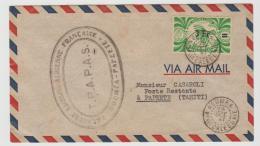 FDI016 / Caledonie,  Erstflug (First Flight) Mit Einzelfrankatur Ex Noumea (Neukaledonien) Nach Tahiti - Ozeanien (1892-1958)