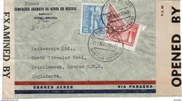 LCTN47/4- BOLIVIE AFFR.T COMPOSE AVEC TIMBRES COUPES SUR LETTRE AVION MAI 1942 CENSURE MILITAIRE ANGLAISE - Bolivie