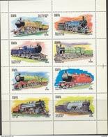 GB LOCALS STAFFA SCOTLAND INNER HEBRIDES 1973 STEAM TRAINS LOCOMOTIVES ENGINES SHEETLET OF 8 MNH Railways Transport - Trains