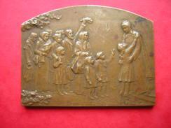 Plaque Médaille En Bronze La France Reconnaissante 1914-1918 Stern Paris 7 X 5.3 Cm Poids 99 Grammes - France