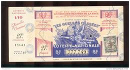 Billet De La Loterie Nationale De 1941  -  Les Gueules Cassées   -  27 ème  Tranche  -  Avec Talon - Lottery Tickets