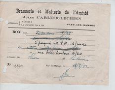 Bon 6807 De La Brasserie & Malterie De L'Amitié Jules Carlier-Lechien Fayt-Lez-Manage 1952 PR5004 - Belgique