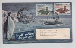 TP 1030-1031 S/L.Expédition Antarctique Belge 5/1/1958 V.BXL R.de Brabant C;d'arrivée PR5008 - Expéditions Antarctiques