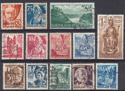 RHEINLAND/PFALZ  - GERMANIA -  1947/1948 - Lotto Formato Da 13 Francobolli Usati - Zona Francese