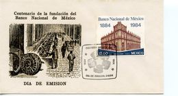 MEXICO  -   1984 The 100th Anniversary Of National Bank   FDC2329 - Mexique