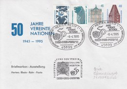 PU 337 C2/2a  50 Jahre Vereinte Nationen 1945 - 1995 - Briefmarken-Ausstellung Herten: Rhein-Ruhr-Posta, Herten,Westf 1 - Buste Private - Usati