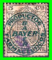 ESPAÑA  SELLO ESPECIAL MOVIL MUY RARO DE 25 CENTIMOS  CON SELO DE BAYER - Revenue Stamps
