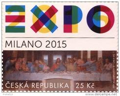 "Czech Rep. / Stamps (2015) 0843: EXPO 2015 Milano (logo); Leonardo Da Vinci (1452-1519) ""The Last Supper"" (1494-1499) - 2015 – Milan (Italy)"