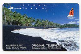 JAPON TELECARTE HAWAII KALAPANA BLACK SAND BEACH - Hawaï