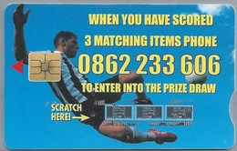 ZA.- TELKOM PHONECARD. South Africa. R20 + R2 Extra Talk Time. STRIKE IT RICH COMPETITION 2002. Voetbal. 2 Scans - South Africa