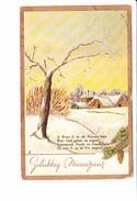HEUREUSE ANNEE, GELUKKIG NIEUWJAAR, Carte Hollandaise, Hameau Sous La Neige, Branche De Sapin, Ed. ? 1953 - Nouvel An