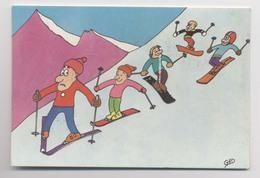 Illustration GUY DELAUNAY - Suivez Mes Traces - SKIEURS - Monoski - Snowboard - Sport Invernali