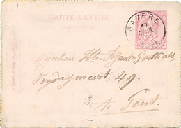 809/25 - Carte-Lettre Type TP 46 GAVERE 1889 Vers GENT - Letter-Cards
