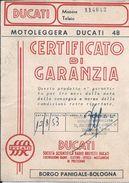 Ducati.Motoleggera Ducati 48.Warranty Certificate Dated 1952.Garantiezertifikat Von 1952.Certificat De Garantie.2 Scn. - Bikes & Mopeds