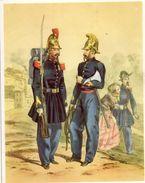 Gravure 24cm X 30 Cm - Sergents En Grande Tenue Et Tenue D' Incendie - 2 Ième Empire - Old Paper