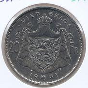ALBERT I * 20 Frank / 4 Belga 1931 Vlaams  Pos.A * Prachtig * Nr 9741 - 1909-1934: Albert I