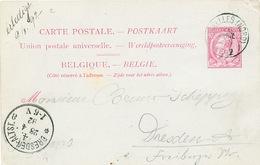 816/25 - Entier Postal Type TP 46 BRUXELLES 1892 Vers DRESDEN - Verso Annulé Roulette Pour Texte écrit Au Crayon - Stamped Stationery