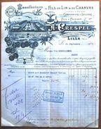 FACTURE De La Manufacture De Fils De Lin Et De Chanvre A. CRESPEL, Lille (Nord), 1907 - France