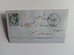 EMPIRE NON DENTELE 14 SUR LETTRE DE MULHOUSE A COLMAR DU 15 JUIN 1855 (PETIT CHIFFRE 2199) - 1849-1876: Période Classique