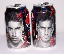 Turkey Rare Pepsi Max Ramos & Messi Famous Football Player Top Opened Can!!! - Soda