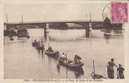 """91  - 1939 -  Ris Orangis   """" Le Pont , La Seine , Les Pêcheurs  """" - Ris Orangis"""