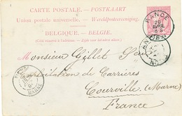 824/25 - Entier Postal Type TP 46 RANCE 1894 Vers Les Carrières De COURVILLE Via ANOR France - Signée Dropsy Frères - Stamped Stationery