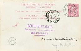 825/25 - CANTONS DE L' EST - Entier Postal Belge REPONSE Type TP 46 WELKENRAEDT 1895 à BXL - Verso HERBESTHAL Allemand - Stamped Stationery