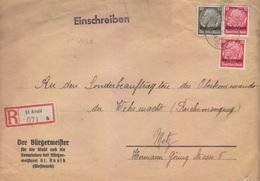 Lettre Recommandée Du Maire St Avold (T325 St.Avold C) TP Lothringen (12x2+30pf=2°éch) Le 3/10/41, étiquette St Avold A - Poststempel (Briefe)