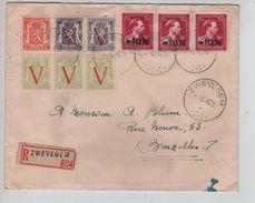 TP 724U(3)-671(2)670(2)-419 Surcharge Locale -10% Zwevegem S/L.Recommandée C.Zwevegem 3/6/1946 V.BXL C.d'arrivée - Bélgica