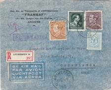 Belgique Lettre Recommandée Entête Transaf Transports Affrètements ANVERS 11/12/1954  Pour  Casablanca Maroc - Briefe U. Dokumente