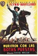 CPM Affiche De Film Spanish Posters MURIECOM CON LAS BOTAS PUESTAS Errol FLYNN Olivia De HAVILLAND - Affiches Sur Carte