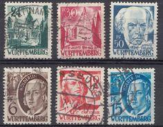 WURTTEMBERG - OCCUPAZIONE FRANCESE GERMANIA - 1948 - Lotto Composto Da 6 Valori Obliterati - Zona Francesa