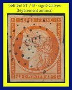 N° 5 CÉRÈS IIe RÉPUBLIQUE 1850 - ORANGE - OBLITÉRÉ ST / B - LÉGÈREMENT AMINCI - SIGNÉ CALVES - LA CHAPELLE-D'ANGILLON - - 1849-1850 Cérès