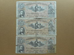 United States 5 Dollars 1861 (Lot Of 3 Banknotes) (FAKE) - Confederate Currency (1861-1864)