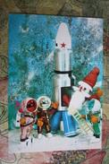 HAPPY NEW YEAR -  Space  - Astronaut - Santa -  OLD Bulgarian PC 1970s - Spazio