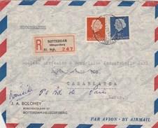 Pays Bas Lettre Recommandée Entête Bolomey ROTTERDAM 1954 Pour  Casablanca Maroc - Timbre 25c Déchiré - Postal History