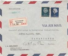 Pays Bas Lettre Recommandée Entête Bolomey ROTTERDAM   Pour  Casablanca Maroc - Poststempels/ Marcofilie