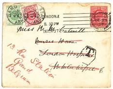 1907 OMSLAG V. LONDON N. WHITECHAPEL Doorgestuurd N. GAND MET TX3+5 ZIE SCAN(S) - Taxes