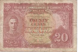 BILLETE DE MALASIA DE 20 CENT DEL AÑO 1941 (BANKNOTE) - Malasia