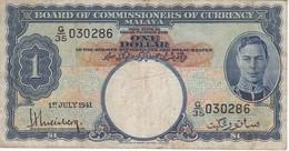 BILLETE DE MALASIA DE 1 DOLLAR DEL AÑO 1941 (BANKNOTE) - Malaysia