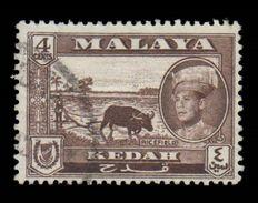 Malaya (Kedah) Scott # 97, 4¢ Dark Brown (1959) Rice Field, Used - Kedah
