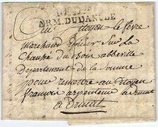 10e Don ARM. DU DANUBE : Lettre Du Bivouac De WILLSTÄTT Du 26 Thermidor An 7 Vers ABBEVILLE Puis DRUCAT - Marcofilia (sobres)
