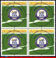 Ref. BR-2924-Q BRAZIL 2004 - FIFA CENTENARY, SPORT,, MI# 3357, BLOCK MNH, FOOTBALL-SOCCER 4V Sc# 2924 - World Cup