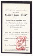 DP Adel Noblesse Aline L. Dhont ° Poperinge 1874 † Elsene Ixelles 1919 X William Van Renynghe De Voxvrie (° Schaarbeek) - Devotion Images