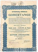 Action Ancienne - Entreprises Générales De Gobertange - Titre De 1929 - Mines